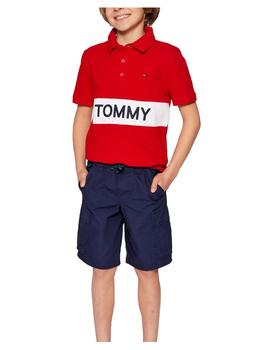 Polo Blocking rojo Tommy Hilfiger
